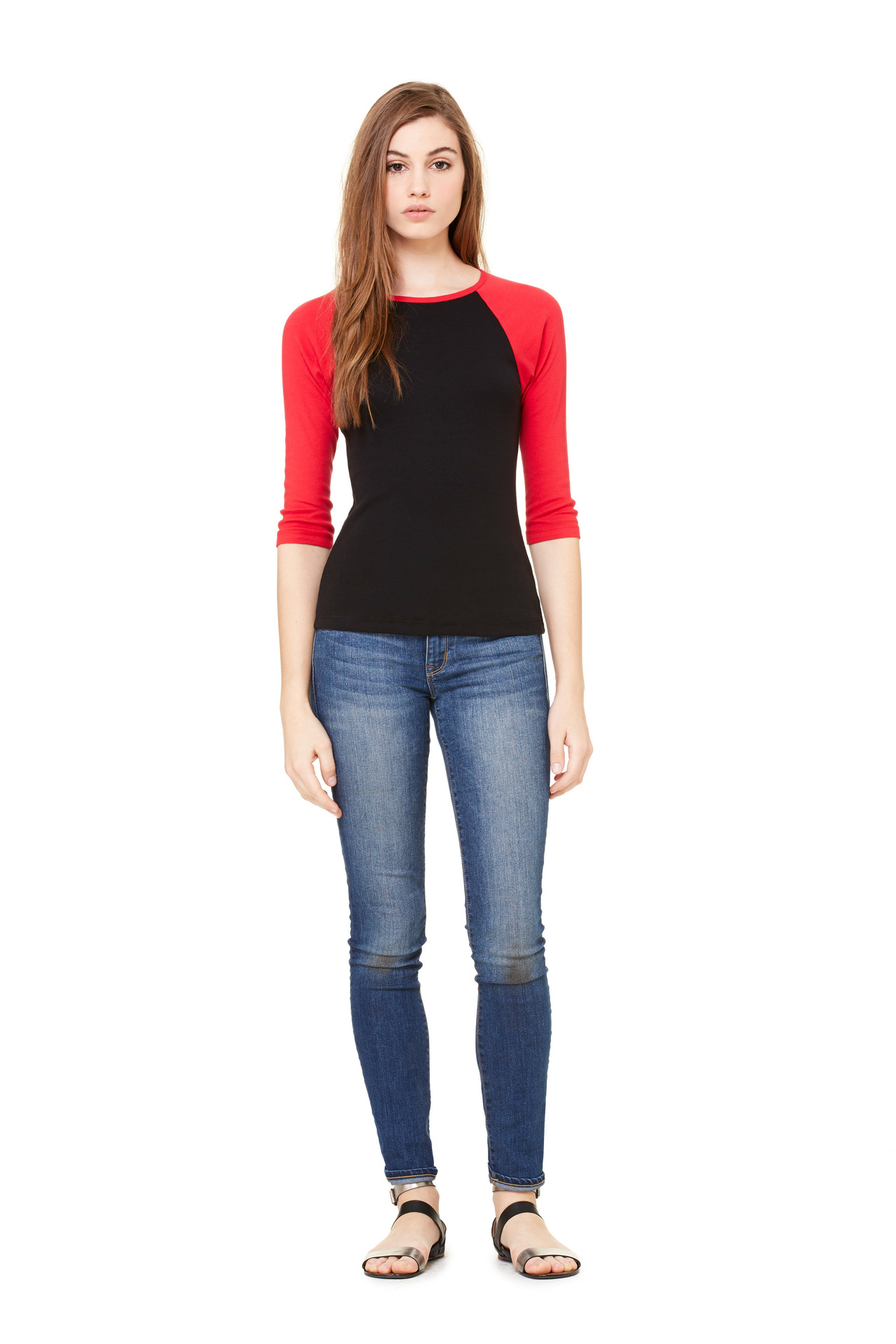 3521270add35aa Home / T-Shirts / 100% Cotton T-Shirts / Bella + Canvas Women's Baby Rib 3/4  Sleeve Contrast Raglan Tee – B2000