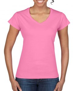 64V00L-Ladies-V-Neck-T-Shirt-Azalea