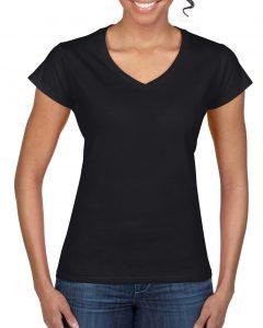 64V00L-Ladies-V-Neck-T-Shirt-Black