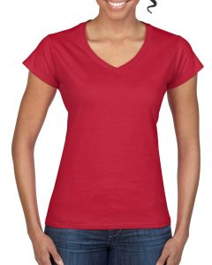 64V00L-Ladies-V-Neck-T-Shirt-Cherry-Red