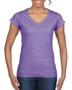 64V00L-Ladies-V-Neck-T-Shirt-Heather-Purple