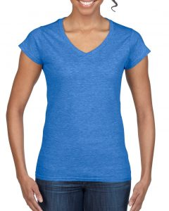64V00L-Ladies-V-Neck-T-Shirt-Heather-Royal