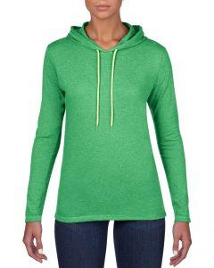 887L-Womens-Lightweight-Long-Sleeve-Hooded-Tee-Heather-Green